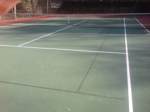 60' blended lines on a 78' tennis court using a dark green on green color scheme.