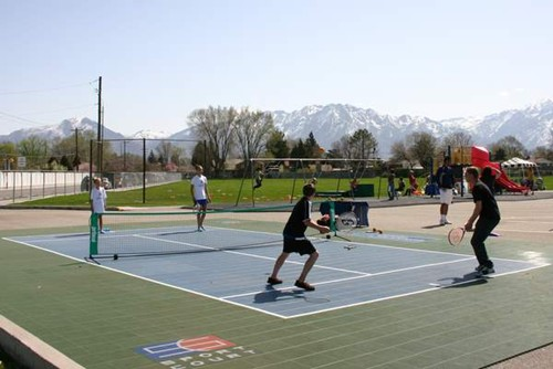 One stand alone 36' tennis court built by Sport Court in the mountains of Utah.